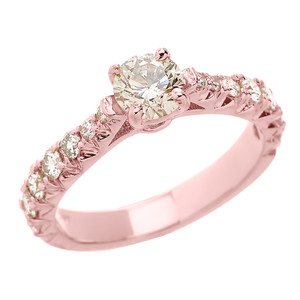 14k Rose Gold Diamond Engagement Solitaire Ring