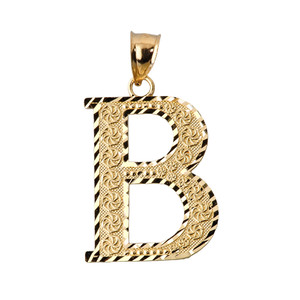 Initial B Gold Charm Pendant