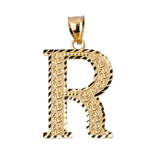 Initial R Gold Charm Pendant