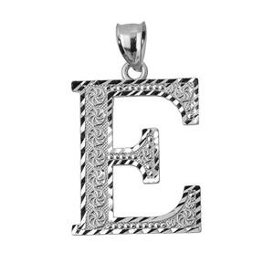 Initial E White Gold Charm Pendant