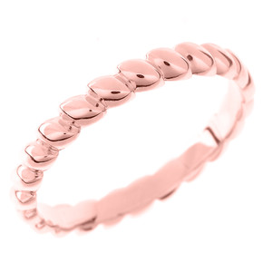 Solid Rose Gold Rice Beaded Stackable Ring