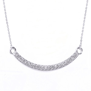 14k White Gold Smiley Face Curved CZ Necklace
