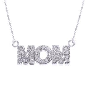 "14 White Gold ""MOM"" Diamond Pendant Necklace"