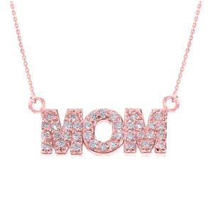 "14 Rose Gold ""MOM"" Diamond Pendant Necklace"