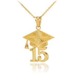 Gold 2015 Class Graduation Pendant Necklace