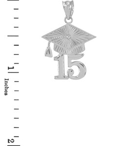 White Gold 2015 Class Graduation Pendant Necklace