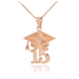 Rose Gold 2015 Class Graduation Pendant Necklace