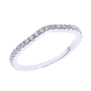 14k White Gold Chevron Stackable Diamond Wedding Band