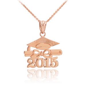 "Rose Gold ""CLASS OF 2015"" Graduation Pendant Necklace"
