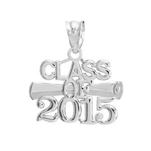 Silver 'CLASS OF 2015' Graduation Charm Pendant Necklace