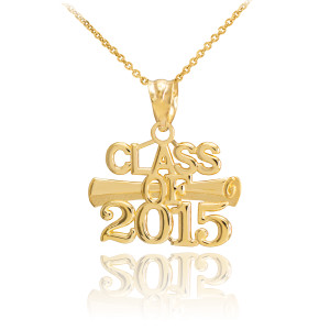 "Gold ""CLASS OF 2015"" Graduation Charm Pendant Necklace"