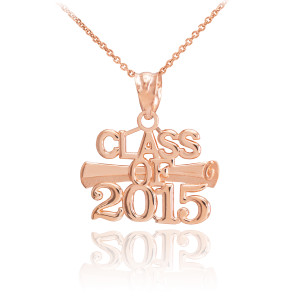 """Rose Gold """"CLASS OF 2015"""" Graduation Charm Necklace"""