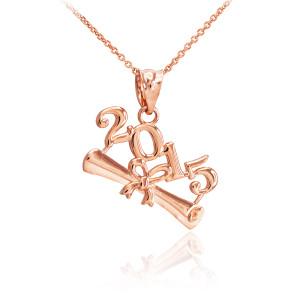 2015 Class Graduation Rose Gold Pendant Necklace