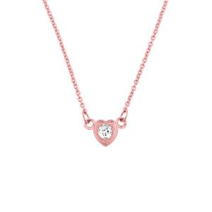 14K Rose Gold Diamond Dainty Heart Necklace