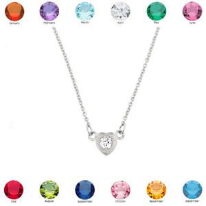 Sterling Silver CZ Dainty Heart Necklace