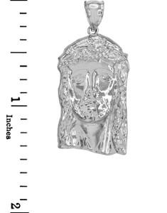 Polished White Gold Jesus Face Pendant