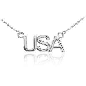 14K White Gold USA Necklace