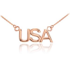 14K Rose Gold USA Necklace