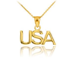 Gold USA Pendant Necklace