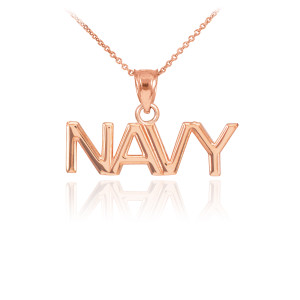 Rose Gold NAVY Pendant Necklace