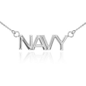 14K White Gold NAVY Necklace