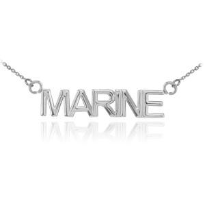 14K White Gold MARINE Necklace