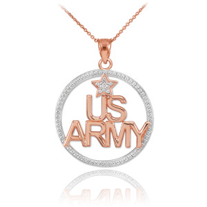 Two-Tone Rose Gold 'US ARMY' Diamond Pendant Necklace