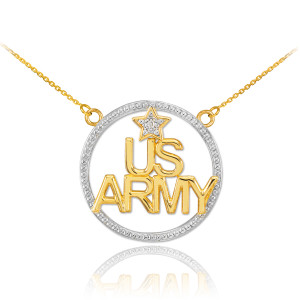 14K Two-Tone Gold 'US ARMY' Diamond Necklace