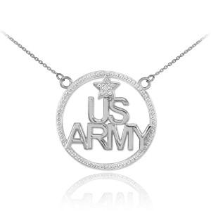 14K White Gold 'US ARMY' Diamond Necklace