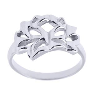 White Gold Lotus Blossom Flower Ring