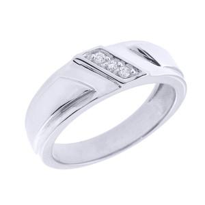 White Gold Men's Diamond Wedding  Band