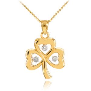 Gold 3-Leaf Diamond Clover Pendant Necklace