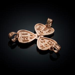 3pc Rose Gold 'BFF' Heart Pendant Necklace Set