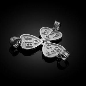 3pc White Gold 'BFF' Heart Pendant Set