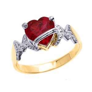 "Yellow Gold Heart CZ Birthstone ""MOM"" Ring"