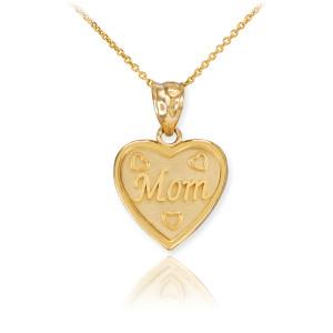 3pc Gold 'Mom' 'Big Sis' 'Little Sis' Heart Pendant Necklace Set