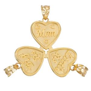 3pc Gold 'Mom' 'Big Sis' 'Little Sis' Heart Pendant Set