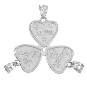 3pc White Gold 'Mom' 'Big Sis' 'Little Sis' Heart Pendant Set