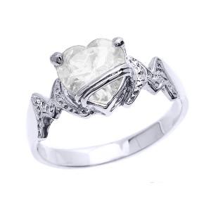 "White Gold Heart CZ Birthstone ""MOM"" Ring"
