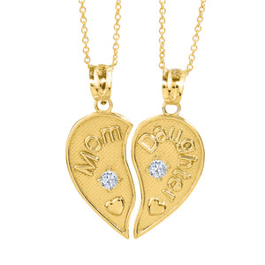 2pc Yellow Gold 'Mom' and 'Daughter' CZ Heart Necklace Set
