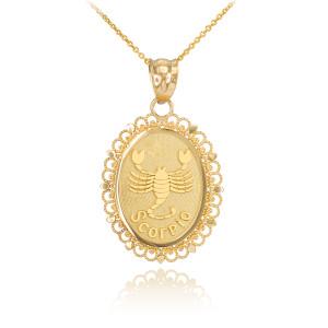 Gold Scorpio Zodiac Sign Filigree Oval Pendant Necklace