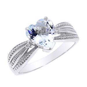 Beautiful White Gold Aquamarine and Diamond Proposal Ring
