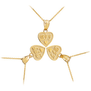 3pc Gold 'BFF' Heart Charm Necklace Set