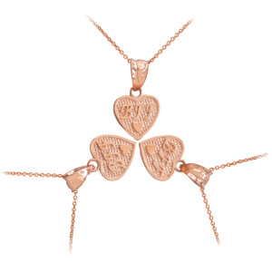 3pc Rose Gold 'BFF' Heart Charm Necklace Set
