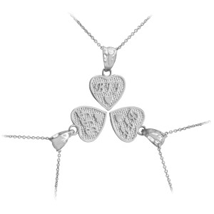 Sterling Silver 3pc 'BFF' Heart Charm Necklace Set