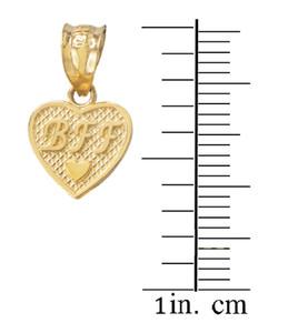 3pc Gold 'BFF' Heart Charm Set