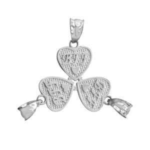 3pc White Gold 'BFF' Heart Charm Set