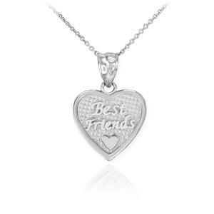 3pc White Gold 'Best Friends' Heart Charm Necklace Set