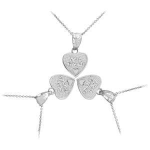 3pc Sterling Silver 'Best Friends' Heart Charm Necklace Set