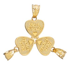 3pc Gold 'Best Friends' Heart Charm Set